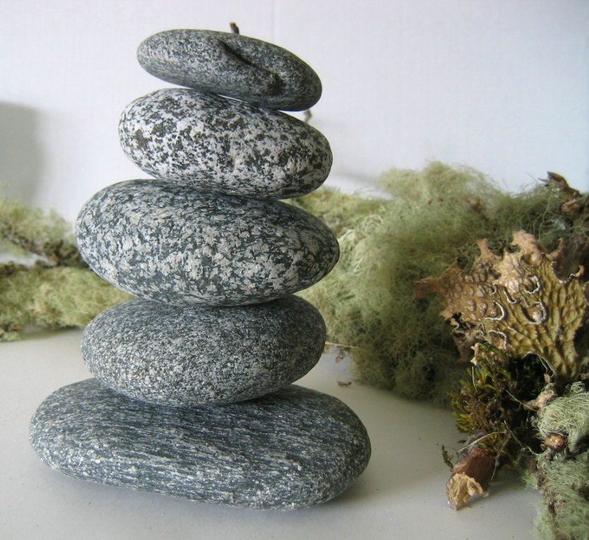 5 Piece Stone Cairn LARGE Natural River Rock SUISEKI