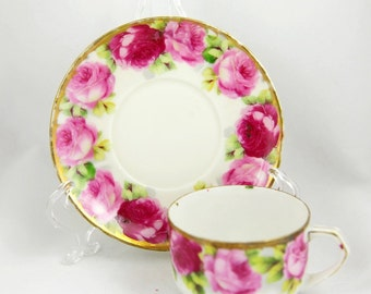 Vintage Shabby Chic  Demitasse  TeaCup and Saucer Gorgeous Roses Pattern