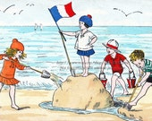 Children Play Fabric Block - French Beach Scene from Vintage Postcard