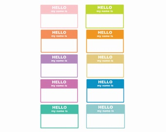 60% OFF SALE Digital Labels  Hello My Name Is  10 pieces  png files