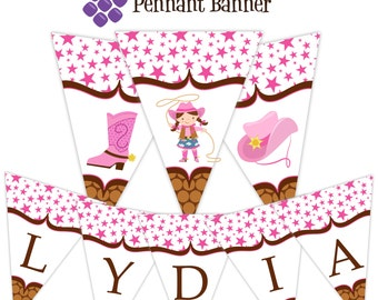 Cowgirl Pennant Banner - Pink Stars, Brown Polka Dot Girl Cowgirl Hat and Boot Personalized Birthday Party Banner - A Digital Printable File