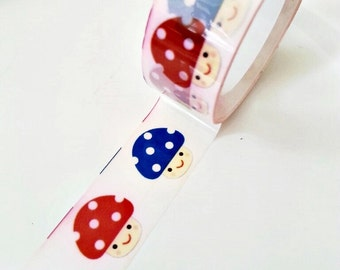 Deco tape kawaii mushrooms red blue green dots