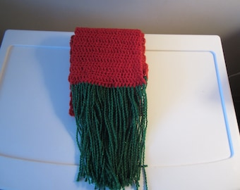 CHRISTMAS RED & GREEN Shimmery Crocheted Scarf with Fringe