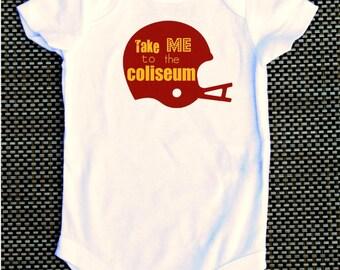 USC Take Me to the Coliseum baby onesie tshirt college football NCAA Trojans gift present new mom new dad football helmet coliseum fan