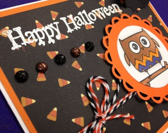 Owl and Bat Halloween Card