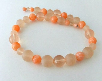 Lucite Bead Necklace Frosted Orange