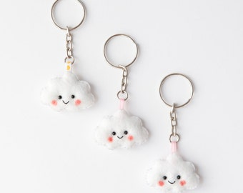 Kawaii Cloud Felt Keychain