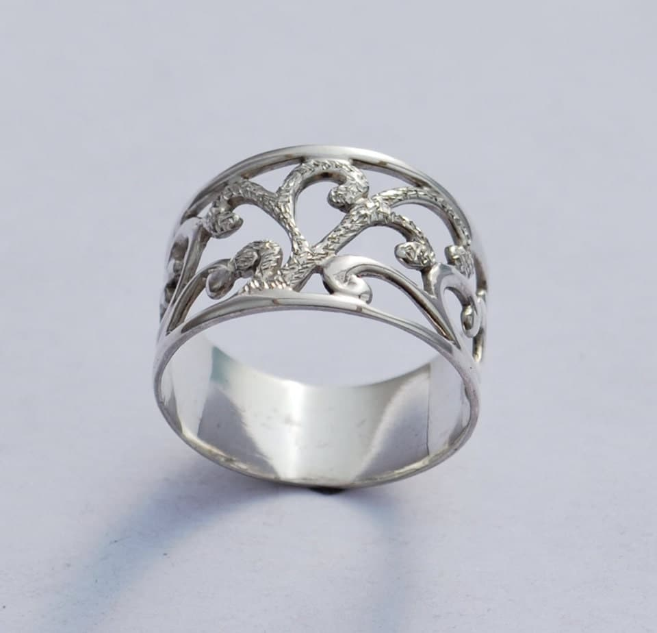 wedding band art nouveau ring sterling ring by sayagjewellery