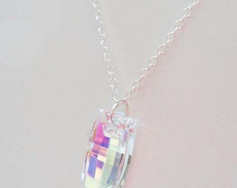 Swarovski  Crystal Necklace, Aurora Borealis, Sterling Silver Necklace, Donna J Jewelry