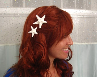 White Starfish Hairclips - Set of 2