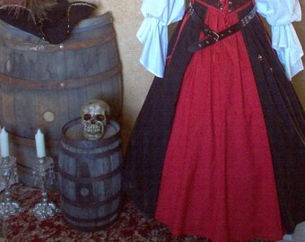Pirate Renaisssance Skirt With Colored Front Panel Plus Sizes And Other Colors Available