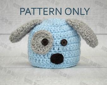 CROCHET PATTERN - newborn puppy hat, crochet puppy hat pattern, baby buppy hat pattern, newborn photo prop pattern, puppy hat pattern