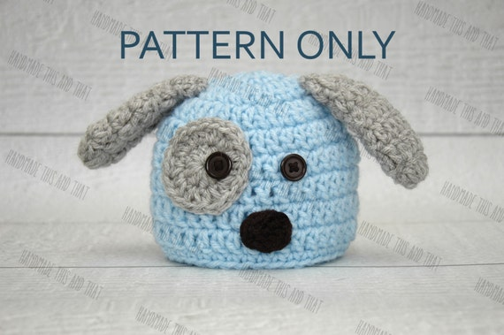 Crochet Pattern Baby Dog Hat : CROCHET PATTERN newborn puppy hat crochet puppy hat