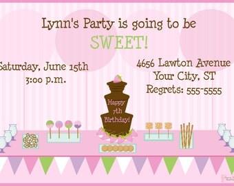 Chocolate Fountain Child's Birthday Party Invitation