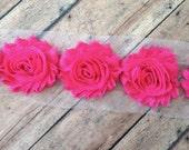 Hot Pink ** Shabby Flowers Chiffon Rosettes Shabby Flower trim- *Your choice of 1/2 yard or 1 Yard