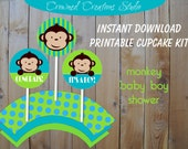 Monkey Baby Shower Cupcake Kit - Toppers/Stickers/Party Circles and Wrappers - Turquoise Blue and Green Monkey Printables - INSTANT DOWNLOAD