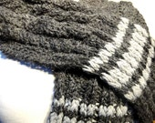 Men's Knit Scarf - Scarf for Men - Hand Knit Scarf - Long Scarf for Men - Grey Scarf for Men