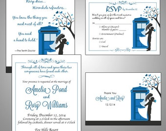 Doctor Who Digital TARDIS Wedding Invitation Suite