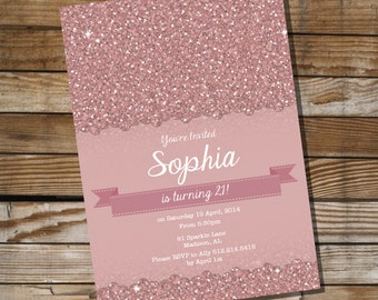 Vintage Pink Glitter Birthday Invitation - 16th 21st 30th 40th 50th 60th birthday invitation - Instant Download and Edit with Adobe Reader
