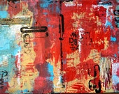 "D8 is a one-of-a-kind abstract mixed media painting.  24"" x 18"".  Red, blue, yellow, black with lots of texture."
