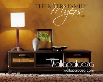 Family Name Monogram - Family Room Wall Decal - Custom Family Name - Family Wall Decal