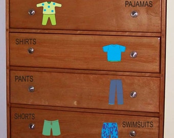 Dresser Clothing Decals Labels - Boys room decals - Dresser Labels - Kids labels - drawer labels - dresser decals - organizing labels