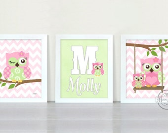 Owl Nursery Decor Owl Print wall art ,Set of three 8 x 10 Girls Room Decor Woodland Owl Nursery Art , Owl will Always Love you