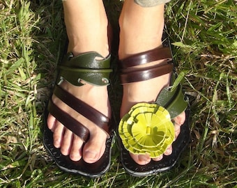 Leather Sandals Women and Men  **sandals leather craft   original design from nature** ***Dandelion design***