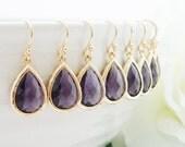 15% OFF SET of 7 Bridesmaid Gift Wedding Jewelry Bridal Jewelry Bridesmaid Jewelry Amethyst Gold Drop Earrings Purple Plum Dangle Earrings