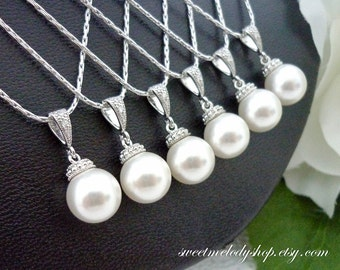 Bridesmaid Gift Wedding Jewelry Bridesmaid Jewelry Bridal Jewelry Ivory White OR Cream Swarovski Round Pearl Drop Necklace Hypoallergenic