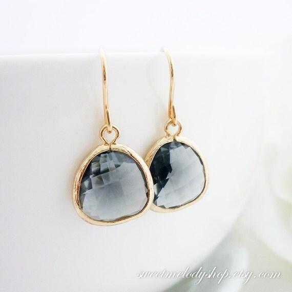 Diamond Necklace Wedding Gift : Wedding Jewelry Bridesmaid Gift Bridal Jewelry Black Diamond Smoky ...
