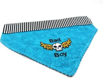 Bad Boy Dog Bandana, Dog accessories, Bandana Blue Winged Skull Dog Bandana, Slip Over the Collar Dog Bandana