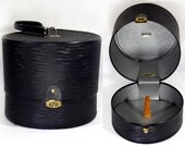 Vintage BAGMASTER MIAMI FLA Black Hat Wig Box Travel Case Suitcase
