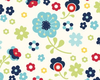 Riley Blake Fabric by the yard - Dress Up Days - Blue Floral  SALE C2922