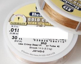 "Beadalon 0.015"" Gold Nylon Coated 19 Strand Flexible Beading Stringing Wire. 30 Feet"