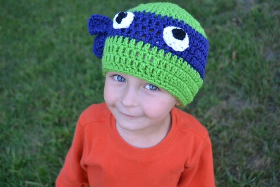 Free Crochet Patterns For Ninja Turtle Hat : Hand Crocheted Ninja Turtle Hats by CrookedByDesign on Etsy