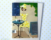 Girl Card - Greeting Card - Cafe Art - Yellow Dress - Vintage Girl - Greek Cafe - Birthday - Romantic - Travel - 'It's A Greek Way Of Life'