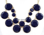 Navy  Bubble Necklace Handmade bib necklace Cluster Necklace  statement necklace Resin jewelry (FN0548 Nevy)