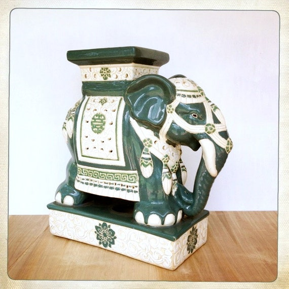 Vintage Elephant Garden Stool Teal Turquoise Ceramic