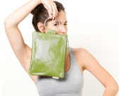 Green leather purse, leather bag, Bridesmaid clutch - maykobags