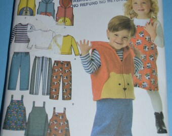 Simplicity 4383 Toddlers Pants Jumper  Vest and KNit Top Sewing Pattern - Sizes 1/2 1  2  3  4
