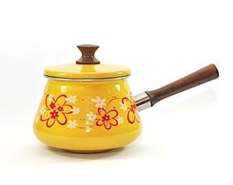 Vintage Fondue Pot, Yellow Fondue Pot, Yellow Pot, Yellow Enamelware, Vintage Enamelware, Yellow and Red Pot, Floral Fondue Pot