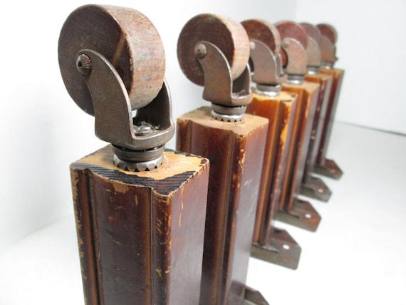 Vintage Furniture Legs Wood Wheels Swivel Rollers Set Of Six
