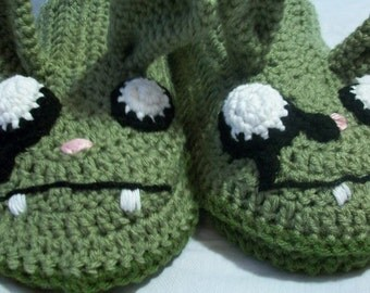 Zombie Bunny Slippers Crochet Pattern