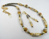 Creamy Freshwater Pearls and Warm Golden Tones in Necklace Earrings Set - 28 Inch Length