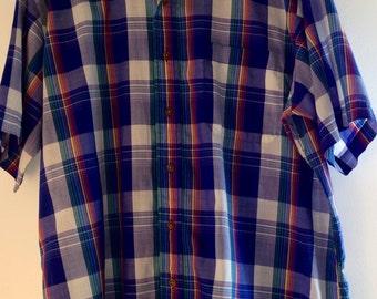 Vintage Men's collar blue plaid shirt XL rainbow