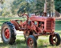 Red Tractor Photograph, Farm Photography, Tractor Art, Rustic Country Decor by Nacene Prchal