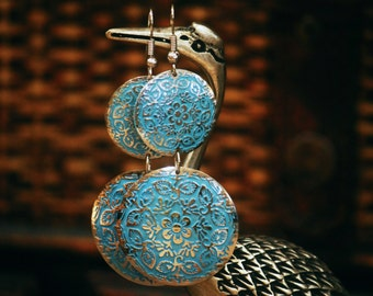 Palace Garden Earrings Blue Floral Jewelry