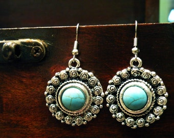 Tibetan style turquoise earrings ethnic jewelry