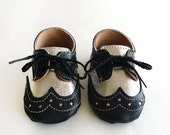 Baby Boy or Girl Shoes Black and Silver Leather Soft Sole Dress Shoes Oxford Wingtips Wing tips